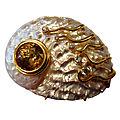 Mother-of-Pearl <b>Abalone</b> Shell Zircon Diamond Brooch