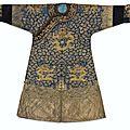 An exceptional Imperial <b>gold</b>-<b>and</b>-<b>silver</b>-<b>embroidered</b> 'Twelve Symbol' semi-formal 'Dragon' robe, jifu, Qing dynasty, Jiaqing peri