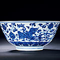 A Rare <b>Blue</b> and White and Moulded 'Phoenix' Bowl, Xuande Period, 1426-1435