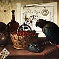 sebastiano lazzari, 1730 verona. still life with cat and parrot