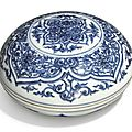 A finely painted blue and white circular box and cover, ming dynasty, chongzhen period (1627-1644)