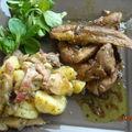 Aiguillettes de canard et poelee de pommes de terre