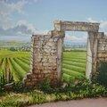 Paysage d'un clos bourguignon (acrylique sur toile)