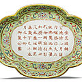 An inscribed and dated lime-green ground famille-rose tea tray, Jiaqing seal mark and period, dated <b>1797</b>