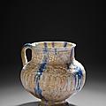 Pichet à décor grain de riz et coulures cobalt, Iran, Kashan, fin du <b>XIIe</b>-début du <b>XIIIe</b> siècle