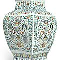 A large doucai 'eight buddhist emblems' square vase, qing dynasty, 18th-19th century