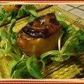 Pomme fruit au foie gras et oignons