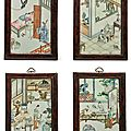 A set of four erotic enameled porcelain plaques, qing dynasty, 19th century