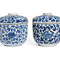 A pair of <b>blue</b> <b>and</b> <b>white</b> cylindrical boxes <b>and</b> covers, Kangxi period (1662-1722)