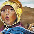 Enfant nomade et son chat
