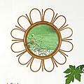 Déco vintage ... miroir fleur en rotin * charlotte