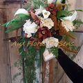 Bouquet de mariée retombant avec Amaranthe et Cymbidium