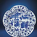 A fine and very rare Ming blue and white pentafoil basin, Wanli six-character mark within a double circle and of the period (1573-1619)