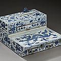 Rare <b>écritoire</b> de forme rectangulaire en porcelaine bleu et blanc, période Yongzheng-Qianlong (1723-1796)