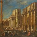 Agostino Tassi (Ponzano Romano 1578-1644 Rome), «Caprice architectural» ou «Le retour d'Agrippine avec les cendres de Germanicus