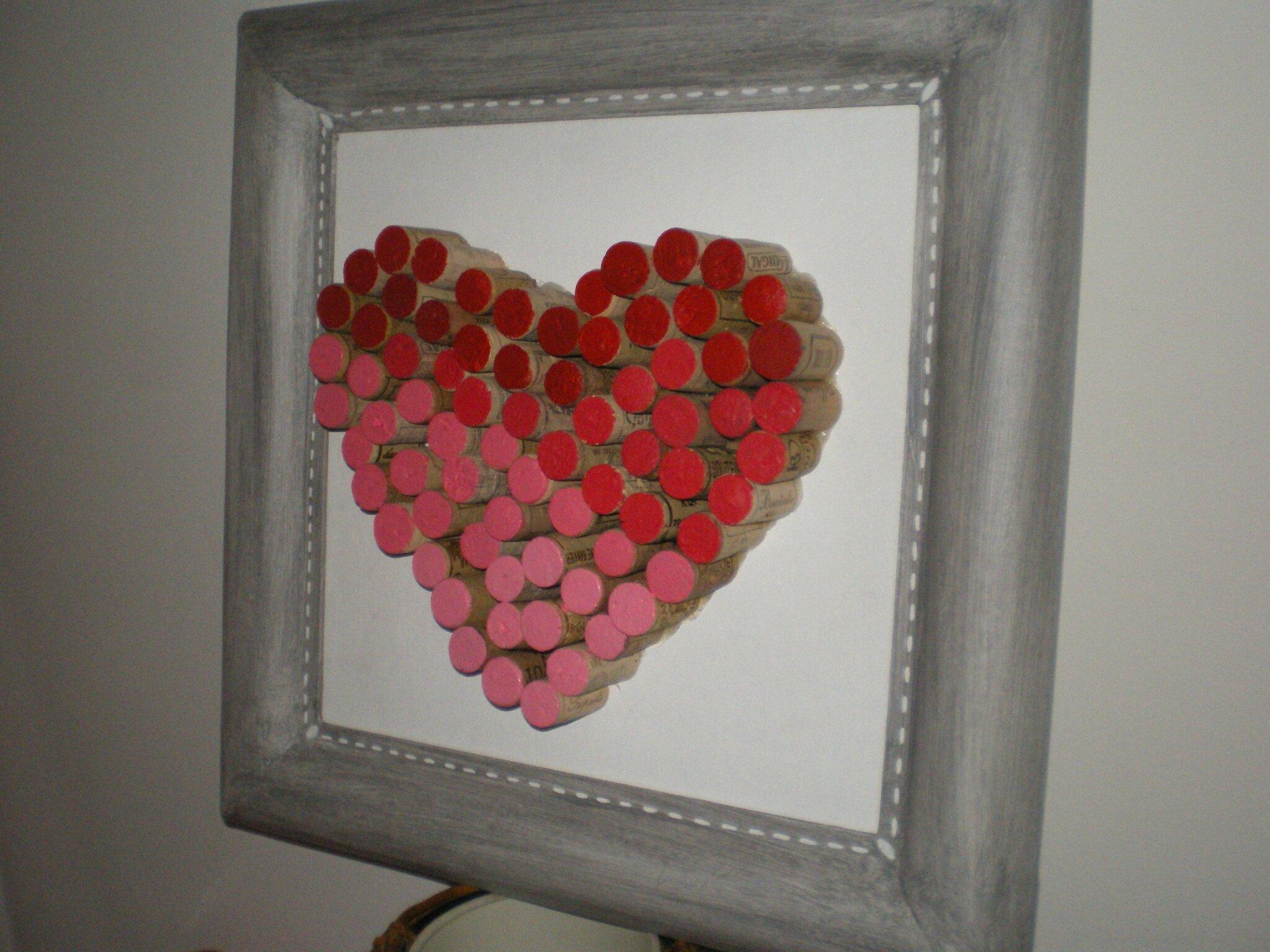 Wonderful tableau coeur bouchon - Photo de tableaux bouchons en liège - Lady  AX09