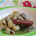 Pipette rigate aux champignons et p'tites saucisses