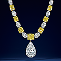 A magnificent colored <b>diamond</b> and <b>diamond</b> necklace, by Graff