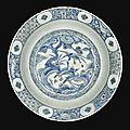 A safavid blue and white dish, persia, 17th century