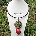 COL254 - Collier chinois <b>jade</b> en fimo et tagua