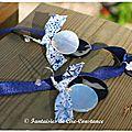 Collier croix Jérusalem nacre et BO duo nacres blanc marine