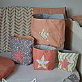 pochons rangement réversibles abricot corail doré gris étoiles chevron pois - décoration chambre fille bébé corail abricot doré gris