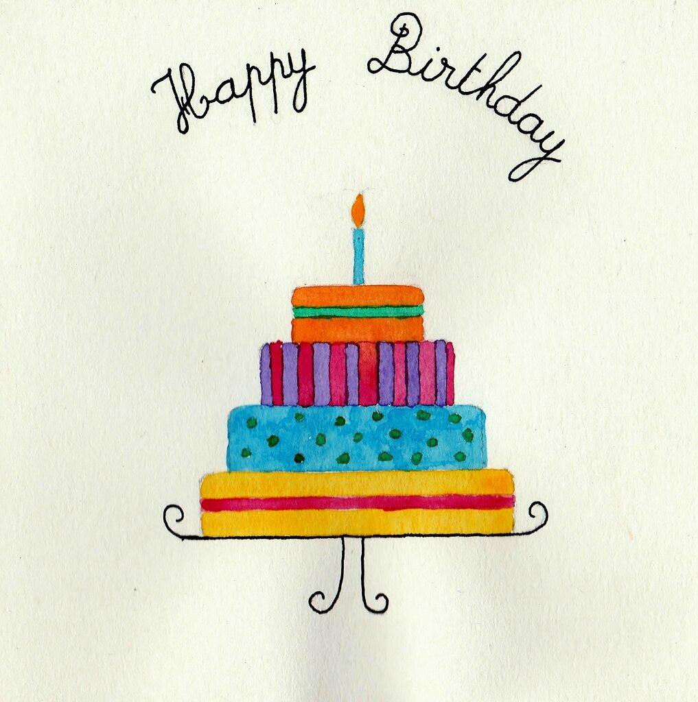 Carte d'anniversaire à l'aquarelle et à l'encre de chine...