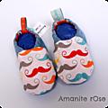 Chaussons bleu Moustaches