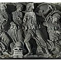 A roman marble panel from a sarcophagus, circa 180 a.d.
