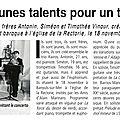 Concert du 18 novembre 2017 : articles d'yvette lucas
