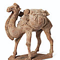 A <b>painted</b> <b>pottery</b> figure of a striding Bactrian camel, Tang dynasty (AD 618-907)