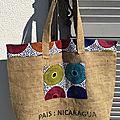 Sac cabas, toile de sac à café, inscription Nicaragua, et wax - réversible bleu, sac shopping, piscine...