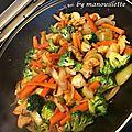 Poulet aux légumes, sauce soja
