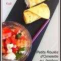 Petits roules d'omelette au jambon de parme -