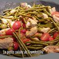 Filet mignon de porc aux olives, haricots verts et tomates
