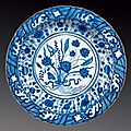 Blue and white dish with flowers, iran, safavid, 17th century