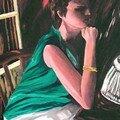 Femme dans l'ombre - huile sur toile - 65 x 46 cm
