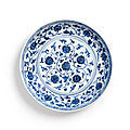A Blue and White '<b>Lotus</b>' <b>Dish</b>, Ming Dynasty, Yongle Period (1403-1424)