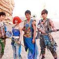 Jolin tsai, show luo, huang xiao ming, louis koo form band in desert