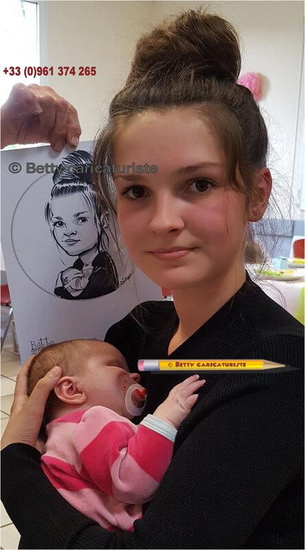 Jeune fille mere bebe nouveau ne caricature portrait chignon caricaturiste sucette
