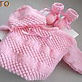 TUTO tricot bébé TROUSSEAU brassière, bonnet, chaussons bb
