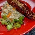 Pavé de saumon sauce soja & risotto aux petits légumes