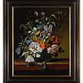 <b>Rachel</b> <b>Ruysch</b>, Still life with flowers in a vase on a ledge with a dragonfly, caterpillar, and butterfly