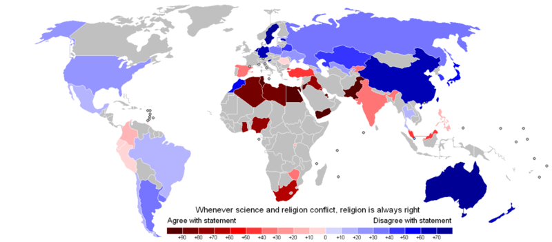Where people trust religion more than science
