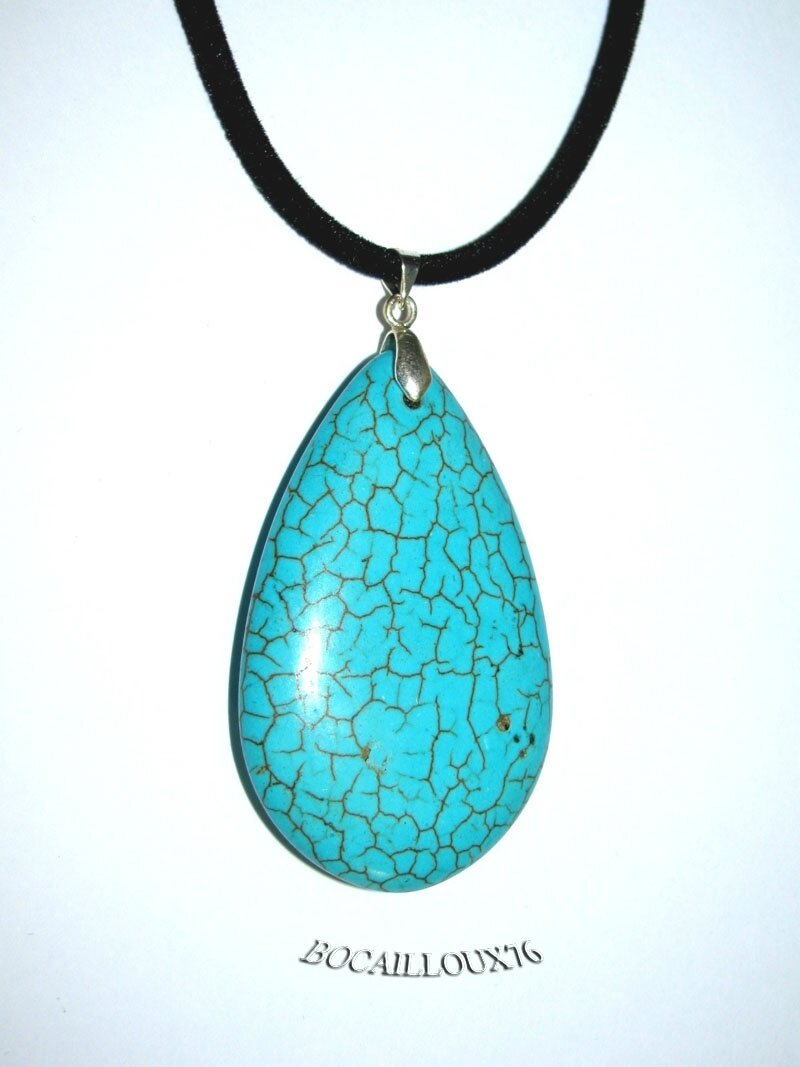 PENDENTIF GOUTTE HOWLITE TURQUOISE 6