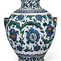 An impressive Iznik-style pottery vase, Ulisse Cantagalli, Florence, <b>Italy</b>, Late 19th century