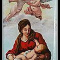 Vierge et enfant entouré d'anges d'après école espagnole XVIIéme
