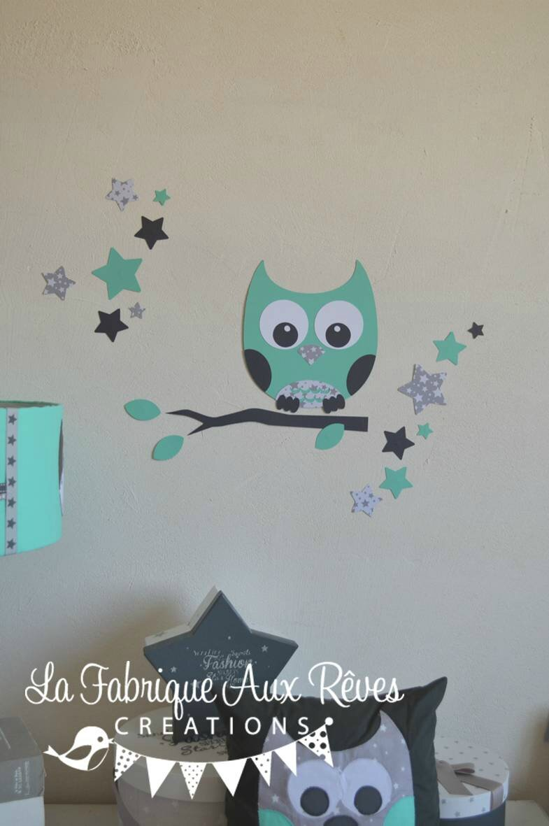 stickers hibou toiles vert eau gris d coration chambre. Black Bedroom Furniture Sets. Home Design Ideas