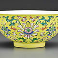 A fine famille rose yellow-ground bowl, <b>Qianlong</b> <b>seal</b> <b>mark</b> in underglaze blue <b>and</b> <b>of</b> <b>the</b> <b>period</b> (<b>1736</b>-<b>1795</b>)