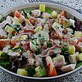 Salade composée au poulet fumé et comté